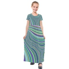 Art Fractal Gradient Colorful Infinity Pattern Kids  Short Sleeve Maxi Dress
