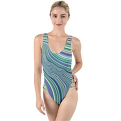 Art Fractal Gradient Colorful Infinity Pattern High Leg Strappy Swimsuit