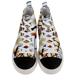 Pattern Fractal Gold Pointed Men s Mid Top Canvas Sneakers