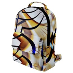 Pattern Fractal Gold Pointed Flap Pocket Backpack (small)