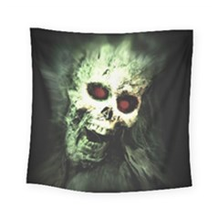 Screaming Skull Human Halloween Square Tapestry (small)