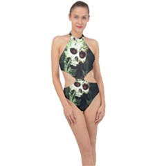Screaming Skull Human Halloween Halter Side Cut Swimsuit by Wegoenart