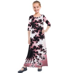 Fractal Pattern Pink Kids  Quarter Sleeve Maxi Dress by Wegoenart