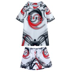 Abstract Fractal Digital Art Kids  Swim Tee And Shorts Set
