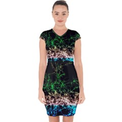 Wallpaper Fractal Lines Abstract Capsleeve Drawstring Dress