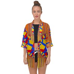 Graphic Design Graphic Design Open Front Chiffon Kimono