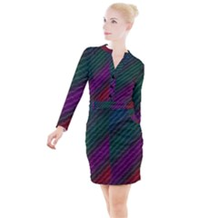 Background Texture Pattern Button Long Sleeve Dress by Wegoenart