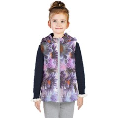 Flower Digital Art Artwork Abstract Kids  Hooded Puffer Vest by Wegoenart