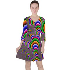 Fractal Background Pattern Color Ruffle Dress