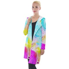 Background Drips Fluid Colorful Pattern Hooded Pocket Cardigan