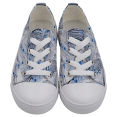 Marbled Paper Mottle Color Movement Blue White Kids  Low Top Canvas Sneakers