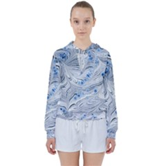 Marbled Paper Mottle Color Movement Blue White Women s Tie Up Sweat