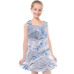Marbled Paper Mottle Color Movement Blue White Kids  Cross Back Dress