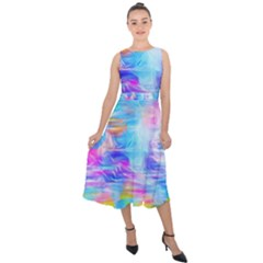 Background Drips Fluid Colorful Midi Tie Back Chiffon Dress