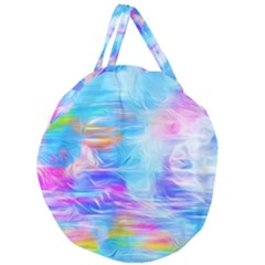 Background Drips Fluid Colorful Giant Round Zipper Tote by Wegoenart