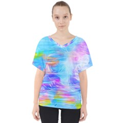 Background Drips Fluid Colorful V Neck Dolman Drape Top