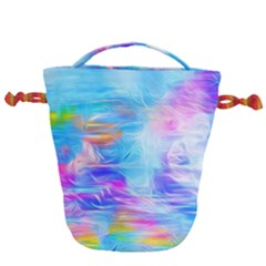 Background Drips Fluid Colorful Drawstring Bucket Bag