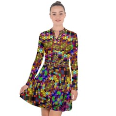Color Mosaic Background Wall Long Sleeve Panel Dress