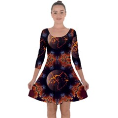 Fractal Space Fantasy Quarter Sleeve Skater Dress by Wegoenart