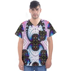 Pattern Texture Fractal Colorful Men s V Neck Scrub Top