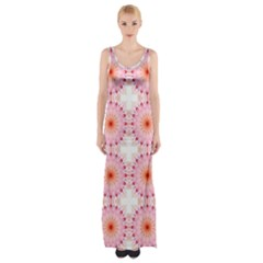 Make A Wish Banner Fractals Pink Maxi Thigh Split Dress
