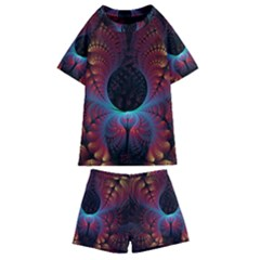 Abstract Abstracts Geometric Kids  Swim Tee And Shorts Set