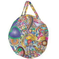 Floral Flourish Hearts Love Giant Round Zipper Tote