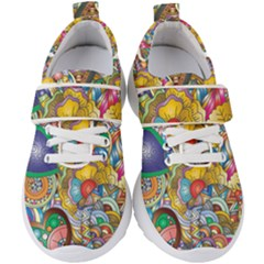 Floral Flourish Hearts Love Kids  Velcro Strap Shoes by Wegoenart
