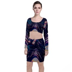 Pattern Texture Fractal Colorful Top And Skirt Sets