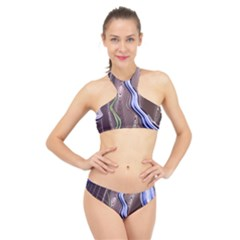 Art Design Decoration Card Color High Neck Bikini Set