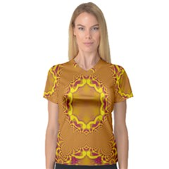 Abstract Fractal Pattern Washed Out V Neck Sport Mesh Tee