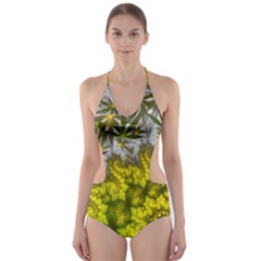 Fractal Mobius Dragon Marijuana Cut-out One Piece Swimsuit by Wegoenart