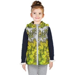Fractal Mobius Dragon Marijuana Kids  Hooded Puffer Vest by Wegoenart