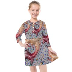Fractal Artwork Design Pattern Kids  Quarter Sleeve Shirt Dress