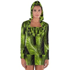 Fractal Background Abstract Green Long Sleeve Hooded T-shirt