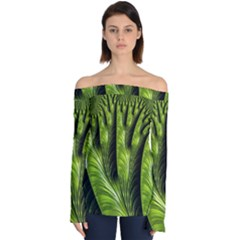 Fractal Background Abstract Green Off Shoulder Long Sleeve Top