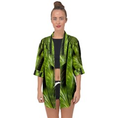 Fractal Background Abstract Green Open Front Chiffon Kimono