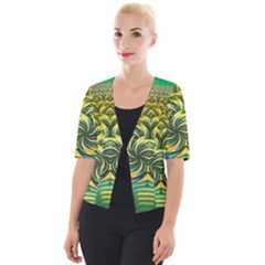 Fractal Tree Abstract Fractal Art Cropped Button Cardigan by Wegoenart