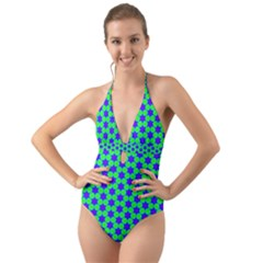 Background Pattern Structure Halter Cut-out One Piece Swimsuit by Wegoenart