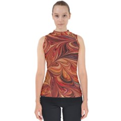 Marbled Paper Mottle Color Movement Mock Neck Shell Top