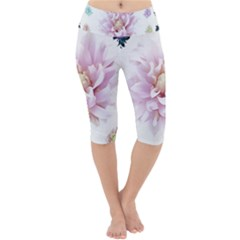 Abstract Transparent Image Flower Lightweight Velour Cropped Yoga Leggings