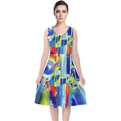 Twilight Bass No  2 V Neck Midi Sleeveless Dress