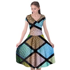 Stained Glass Soul Cap Sleeve Wrap Front Dress