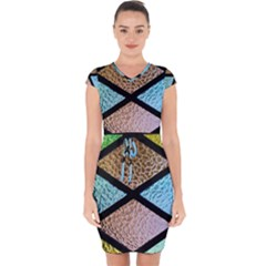 Stained Glass Soul Capsleeve Drawstring Dress