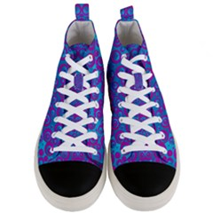 The Eyes Of Freedom In Polka Dot Men s Mid Top Canvas Sneakers