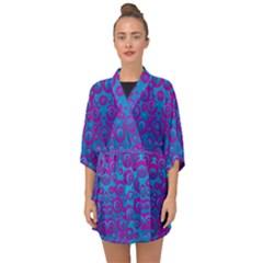 The Eyes Of Freedom In Polka Dot Half Sleeve Chiffon Kimono