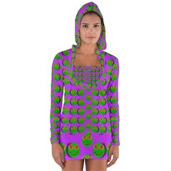 The Happy Eyes Of Freedom In Polka Dot Cartoon Pop Art Long Sleeve Hooded T-shirt by pepitasart
