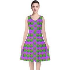 The Happy Eyes Of Freedom In Polka Dot Cartoon Pop Art V Neck Midi Sleeveless Dress