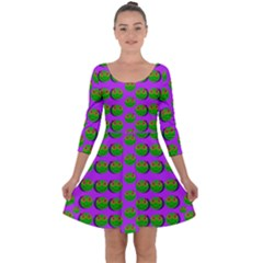 The Happy Eyes Of Freedom In Polka Dot Cartoon Pop Art Quarter Sleeve Skater Dress by pepitasart