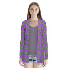 The Happy Eyes Of Freedom In Polka Dot Cartoon Pop Art Drape Collar Cardigan